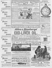 Victorian Adverts; Hall Typewriter, Mappin & Webb Bags - Antique Print 1886