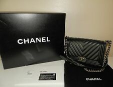 Auth CHANEL Boy Black Lambskin Leather Ruthenium Old Medium Chevron Flap Bag