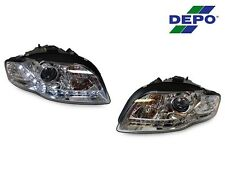 14 PIN DEPO 06-08 AUDI A4/S4 B7 4D/5D R8 DRL LED CHROME XENON HID D1S HEADLIGHTS