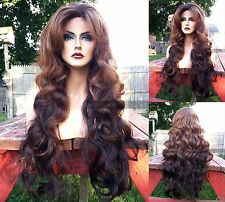 "USA // Human Hair BLEND Long Black Brown Ombre 4x4"" LACE FRONT Dark Root Wig"