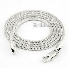 2mm Fashion Jewelry Men Women 18K White Gold Filled Necklace Snake Link Chain