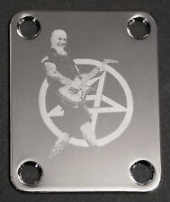GUITAR NECK PLATE Custom Engraved Etched - Anthrax SCOTT IAN - CHROME