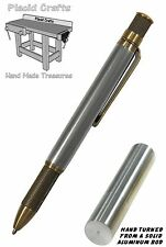 Knurl Ball Point Pen with Solid Aluminum Body & Antique Brass Hardware / #088