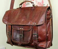 Distressed Tan Brown Leather Large Satchel Laptop Shoulder Bag Moroccan A4