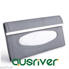 New Leather Car Sun Visor Tissue Box Paper Napkin Holder Clip Auto Accessory