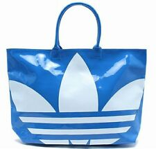 ADIDAS BEACH SHOPPER PATENT BAG Blue-White big trefoil logo shoulder shopping