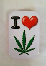 ** NEW ~ Slim 1oz ~ Hinged Tobacco Tin ~ I Love Weed  **