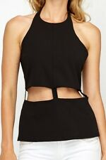 Ladies ASOS Cut Out Waist Black Halter Neck Top Size 12