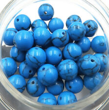 8mm 10pcs blue Turquoise Natural Gemstone Round Spacer Loose Beads DIY jewellery