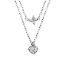 Giani Bernini Cz Cross and Heart Double Layer Pendant Necklace Sterling Silver