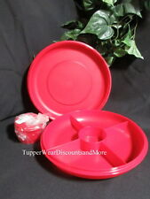 Tupperware NEW Small VEGGIE Vegetable & Dip SERVING CENTER Set Container RED
