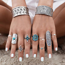 9x Boho Vintage Gypsy Silver Joint Above Knuckle Midi Finger Ring Turquoise Set