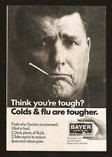 1968 BAYER ASPIRIN PRINT AD~SICK MAN WITH THERMOMETER IN MOUTH~COLDS & FLU