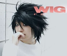 Death Note L Black Short Stylish Anime Cosplay Wig ,+ free wig cap