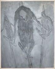 Gillet Roger Edgar huile et pastel sur papier signée abstraction art abstrait