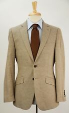 CHARLES TYRWHITT Tan Linen & Cotton Herringbone Blazer Jacket 38 S Slim Fit