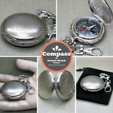 Pocket Watch Style Military Army Compass Liquid Outdoor Camping Hiking Keychain