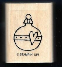 ORNAMENT BULB HEART Christmas Holiday Season Stampin Up! Gift Tag RUBBER STAMP