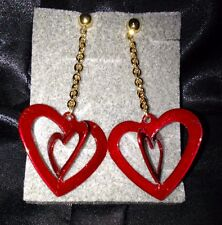 VTG FUNKY FUN Vintage AVON Red Enamel Dangling Heart Earrings Fashion Jewelry!!!