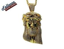 "MENS 36"" 18K YELLOW GOLD FILLED LAB DIAMOND HIP HOP JESUS PIECE CHAIN NECKLACE"