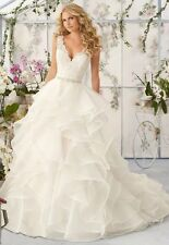 UK 2016 New White/Ivory Lace Wedding Dress Bridal Gown Custom Made Size 4-18
