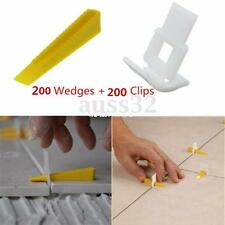 400 Tile Leveling System - 200 Clips + 200 Wedges - Floor Wall Plastic Spacers