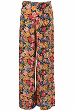 TOPSHOP BOUTIQUE PEONY PRINT SILK WIDE LEG SLIT TROUSERS PANTS 6 34 2!