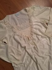 """Vintage Long Ivory Nightgown Gilligan O'Malley Made USA 52"""" Long M L Silky Warm"""