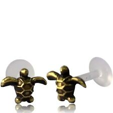 "BRASS TURTLE TRAGUS HELIX 16G 5/16"" inch 8mm INTERNAL BIOPLAST LABRET EAR STUD"