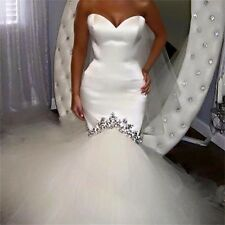 Mermaid white ivory Satin Sweetheart Wedding Dresses Bridal Gown custom