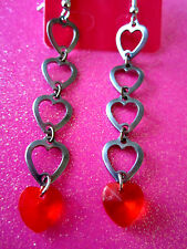 Pewter Heart and Red Heart Dangle 3 Inch Earrings