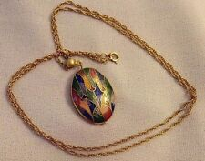 "Vintage Double Sided Multi-color Oval Egg Enamel 24"" Necklace"