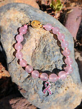 Pink BREAST CANCER AWARENESS Quartz Bead Bracelet w/ Crystal Ribbon & Vintage Cl