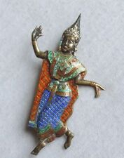 Vintage Sterling Silver Siam Niello Warrior Dancer Pin Brooch Enameled (xx924)