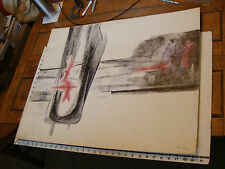 Vintage art by ROBERT MOIR: in pen:abstract architecture, SIGNED, black red,