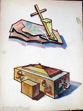 Acquerello '900 su carta Watercolor Architettura futurista cubista razionale-93