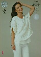 KNITTING PATTERN Ladies Drop Sleeve Loose Fitting Top Galaxy DK King Cole 4409