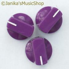 3 purple potentiometer switch knobs guitar  amplifier etc stove pot knob + screw
