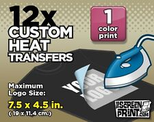 12 Custom Plastisol Heat Transfers Iron-On (1 color) MAX Logo Size 7.5 x 4.5 in.