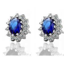 Luxury Royal Dark Blue Sapphire Zircon Queen Design Stud Earrings E505
