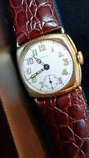Rare Zenith Cushion 18k Solid Gold Man's 17J Wristwatch Wire Lugs, Hinged Case.
