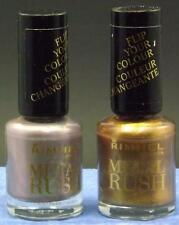 Rimmel Metal Rush Nail Color Set of 2 #70 Gold Save The Queen& #100 Pearly Queen