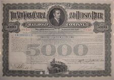 $5,000 1940's New York Central And Hudson River Railroad Bond Stock Certificate