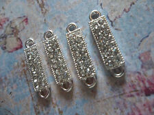Clear Rhinestone Connectors - Small Rectangle Silver Bar Links 21 x 5mm - 4 pcs