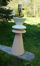 Vntg 1950's Mid Century Modern Pink Off-White Table Lamp Atomic Sputnik Eames
