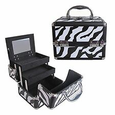 "8"" Pro Aluminum Makeup Train Case Jewelry Box Cosmetic Organizer Zebra New"