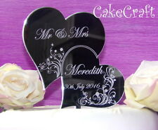 Grabado Corazón Acrílico Personalizado Wedding Cake Toppers Decoración Monogram