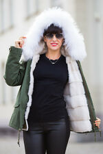 New Real 100% Genuine White Raccon Fur Trim Hood Collar Women Coat Parka Jacket