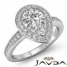 Halo Pave Set Pear Diamond Engagement Ring GIA F Color VS2 18k White Gold 2.5ct