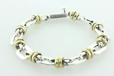 Vintage Mexico Sterling Silver & Brass Wire Wrapped Link Hexagon Bracelet - 8.5""
